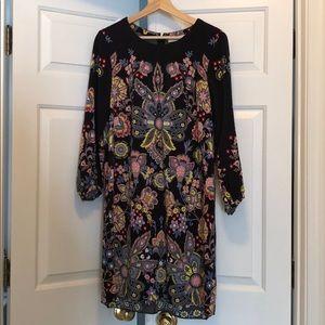 LOFT Size Medium Floral Print Long Sleeve Dress